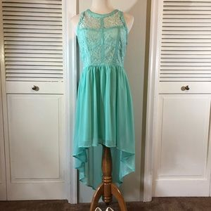 Teal Lace High-Low Dress//size large//